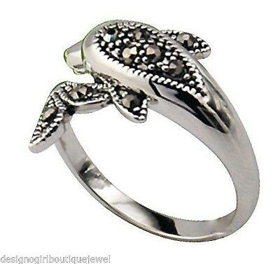 (Silver Dolphin Ring Black Crystal White Gold Band Bypass Crossover SZ 5-9)
