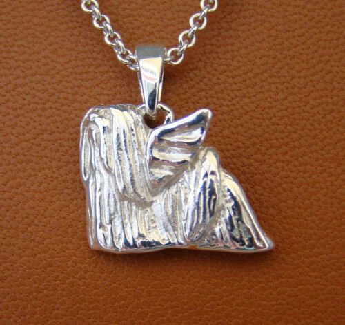 Small Sterling Silver Lhasa Apso Angel Pendant