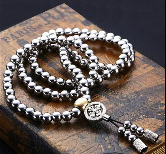Stainless Steel Titanium 108 Buddha Beads Necklace Chain Sel