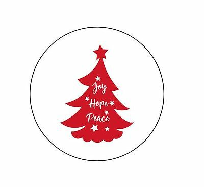 63 Joy, Hope, Peace Christmas Tree Envelope Seals / Labels / Stickers 1