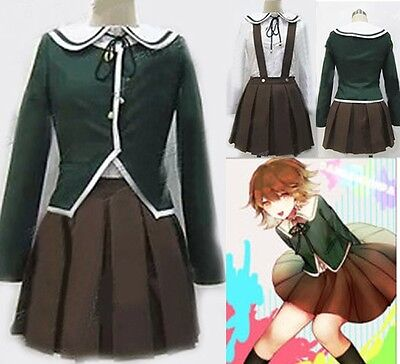 Dangan Ronpa Fujisaki Chihiro Cosplay Costume Brown Dress Full Set Costume