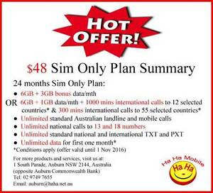 6GB Data/mth Unlimited National 55 Countries International Calls Auburn Auburn Area Preview