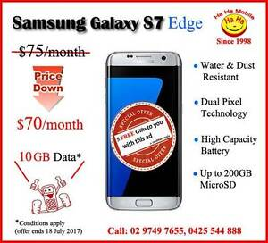 Samsung Galaxy S7 Edge 4G 32GB Black, Gold & Silver 10GB Data Auburn Auburn Area Preview