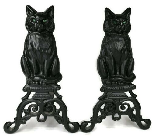 Pair Vintage Cast Iron Figural Cat Andirons with Green Glass Eyes