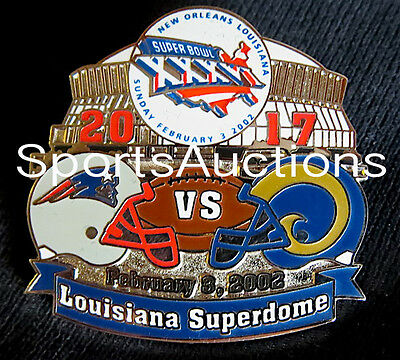 Super Bowl 36 Final Score Lapel Pin   Card Willabee Ward Patriots Rams Sb Xxxvi