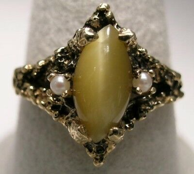 [1103] 14kt Yellow SOLID Gold ring with Cat Eye & 2 Cultured Pearls
