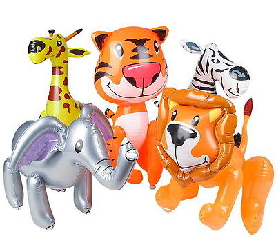 "3 ZOO ANIMAL INFLATES 24"" GIRAFFE ELEPHANT LION TIGER ZEBRA ANIMALS INFLATABLE"