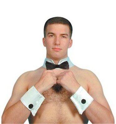 Herren Stripper Kellner Butler 3 Stück Satz Fliege Kragen und Manschetten - Weiße Kragen Und Manschetten Kostüm