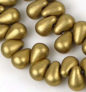 50-Czech-Glass-Teardrop-Beads-Matte-Metallic-Aztec-Gold-6x4mm