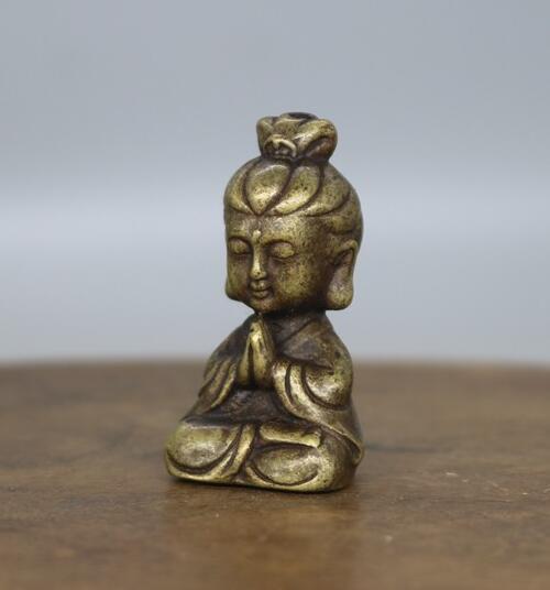 China archaize pure brass Guanyin bodhisattva small Buddha statue