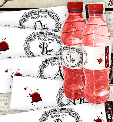 Halloween 8 blood type bottle labels party decoration party favor glossy  - Blood Label Halloween