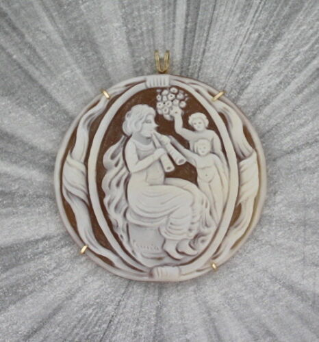 Hand Carved Italian Shell Cameo  in 14kt Rolled Gold  with chain Wire Wrapped