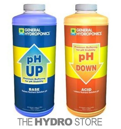 General Hydroponics pH Up & pH Down 1 Quart each - GH Water pH Adjuster Buffer