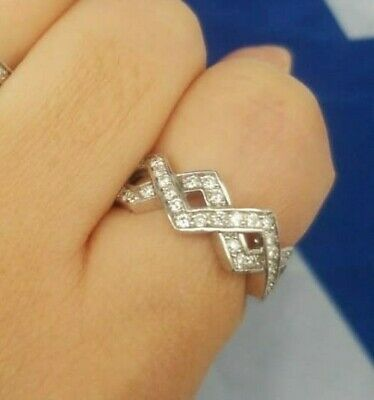 Natural Diamond Ladies 14K white Gold Criss Cross Ring 0.49 CTW