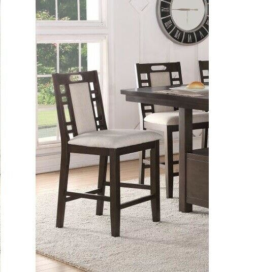 Set of 2 Earth Grey Solid Wood Padded Seat Counter Height Ba