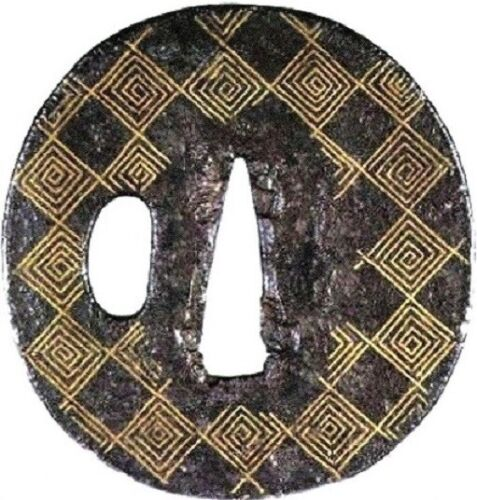 Heianhi Iron RAIMON inlay Early Edo Period Tsuba