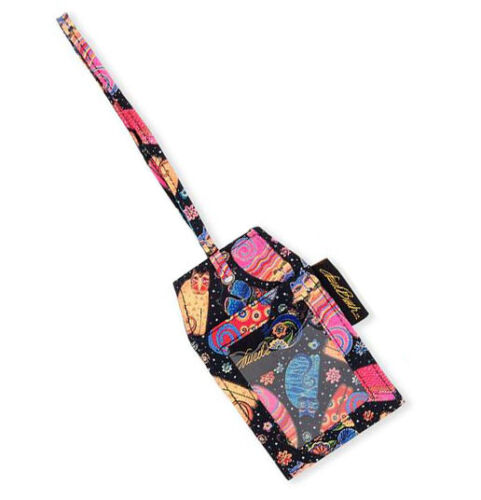 New LAUREL BURCH Travel Luggage ID Bag Baggage Tag Pouch CAT KITTEN ART Floral