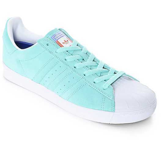outlet store 8e2be eeaec ... cheap new mens adidas superstar vulc adv skate shoes pastel blue pink  yellow 18167 ebd28