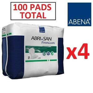 NEW 100 ABENA INCONTINENCE PADS 9384 251228326 SIZE 9 FORTE ABRI-SAN FOUR PACKS OF 25 ABSORBENT PAD