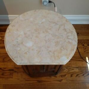 round marble and wood side table