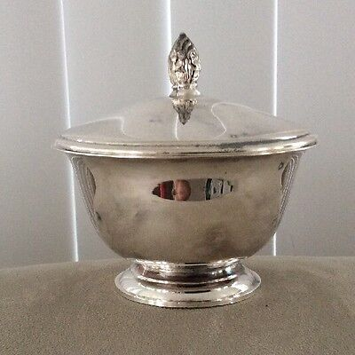 Vintage 1950's F.B. Rogers Silver Co. Silver-plated Sugar Bowl with Lid EUC