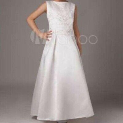 mädchen Kleid aus Satin in Weiß 140 (Mädchen Satin Kleider)