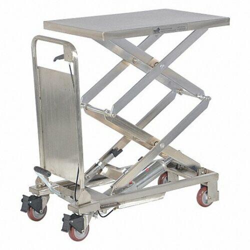 """Vestil Cart-200-pss Manual Scissor Lift Table, 220 Lb Cap, 51"""" Lift, 2tkx8, New!"""