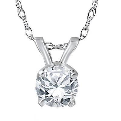 14k Wg Diamond Solitaire - 1/2ct Solitaire Round Diamond White Gold New Pendant Womens Necklace