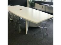 Large Solid Wood (Red Wood) White Painted Architects Table: sits 6-8