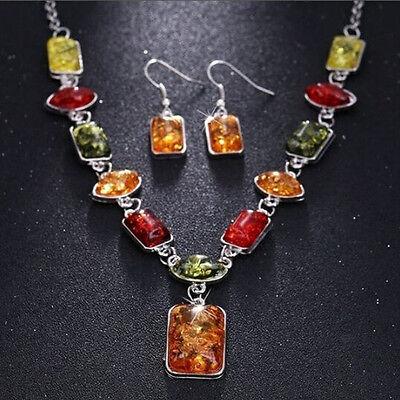 Retro Fashion Women Rhinestone Amber Necklace Earrings Jewelry Set Wedding Gifts