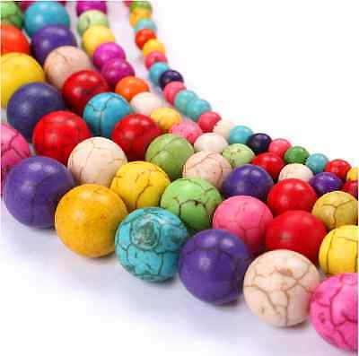 100Pcs 4mm Multicolor Turquoise Gemstone Round Loose Spacer Beads Jewelry Making