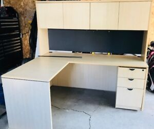 L shaped study desk with 4 door hutch