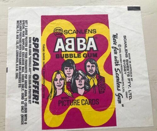 1976 ABBA ORIGINAL AUTHENTIC SCANLENS  BUBBLEGUM WAX PACK WRAPPER MINT! RARE!