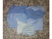 First Size - Baby Boy Hats and Vests Bundle Long and Short Sleeved. George and Matalan.