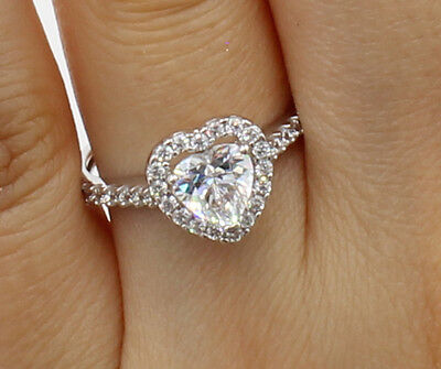 1.50 Ct 14K White Gold Heart Cut Illusion Halo Engagement Propose Promise Ring