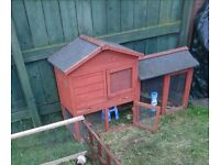 Rabbit Guinea pig hutch cage with run