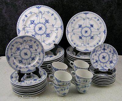 (40) Pc. Royal Copenhagen Blue Fluted Half Lace Porcelain Dinner Service for 8