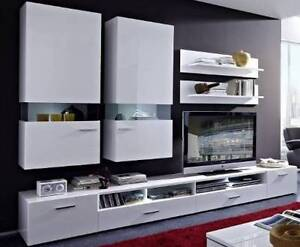 White Gloss Modern Furniture Set TV Unit 7pce A1 Malaga Swan Area Preview