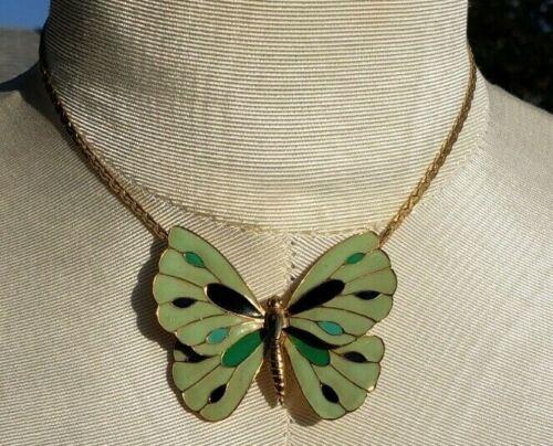 Vintage Enamel Butterfly Necklace Choker STUNNING LARGE  2 X 1 7/8