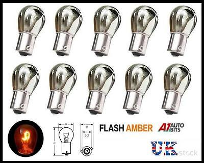 10x Chrom Silber Glühbirnen Birne Offset Off Set Pin Blinker Flash Orange 343
