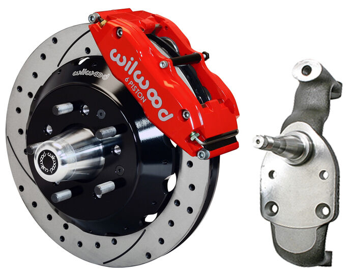 "Wilwood Disc Brake Kit & 2"" Drop Spindles,front,58-70 Impala,14"" Drilled,red"