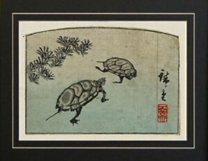 Ando Hiroshige Kame Turtles Fish Japanese Art Woodcut