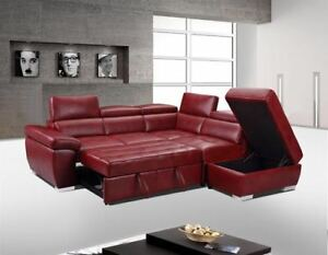 LEATHER SECTIONAL SOFA & PULLOUT SOFA BED & FLOATING OTTOMA