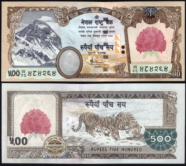 NEPAL- 2007 1st series Rs 500 EVEREST n FLOWER  BANKNOTE P-65, signature 16, UNC