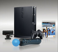 320GB slim PS3 console with PS move bundle+21 Games