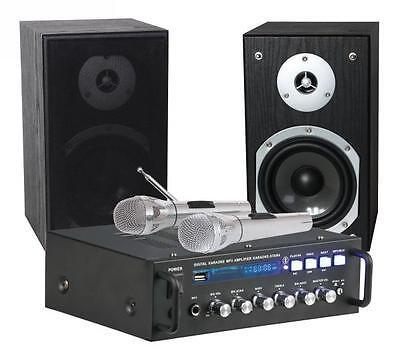 Verstärker 2 x75 W, 2 Boxen, 2 Mikrofone USB/SD schwarz (Star Karaoke)
