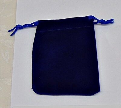 12 Small Blue Gift Jewelry Drawstring Bags 2-12 X 3 Flocked Velveteen Pouch