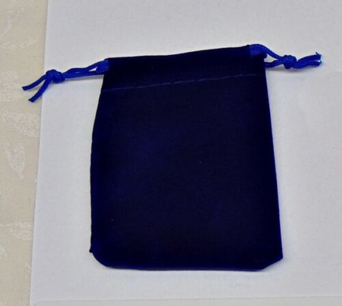 """100 Small BLUE GIFT Jewelry Drawstring Bags 2-1/2"""" x 3"""" Flocked Velveteen Pouch"""