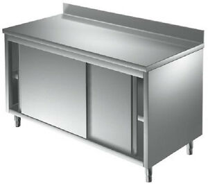 Table armoire sur meuble inox portes coulissantes for Table armoire inox