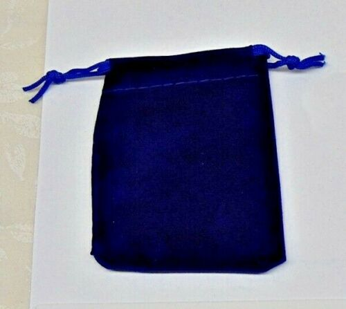 """12 BLUE GIFT Drawstring Bags 2-1/2"""" x 3"""" Flocked Velveteen Pouch for Small Gifts"""